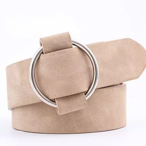 Beige Faux Leather Belt